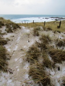 hail on sand dunes